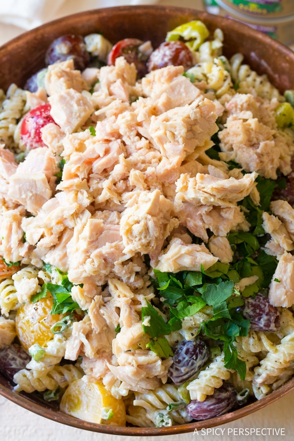Chunky Cold Tuna Pasta Salad with Olives and Capers Recipe