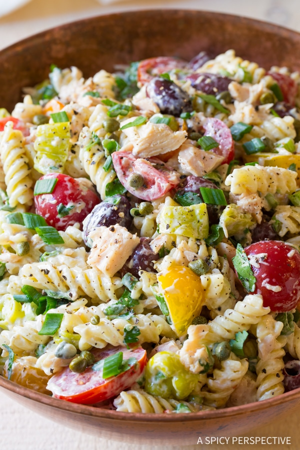 Perfect Cold Tuna Pasta Salad with Olives and Capers Recipe