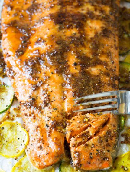 Sheet Pan Brown Sugar Baked Salmon with Vegetables