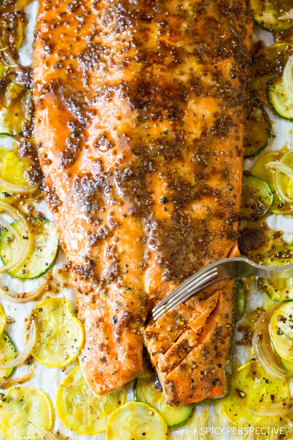 Heavenly Sheet Pan Brown Sugar Baked Salmon with Vegetables Recipe