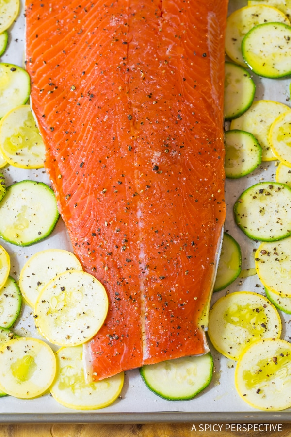 Simple Sheet Pan Brown Sugar Baked Salmon with Vegetables Recipe