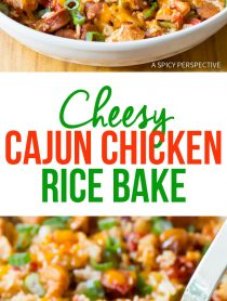 Zesty Cheesy Cajun Chicken and Rice Casserole Recipe #jambalaya