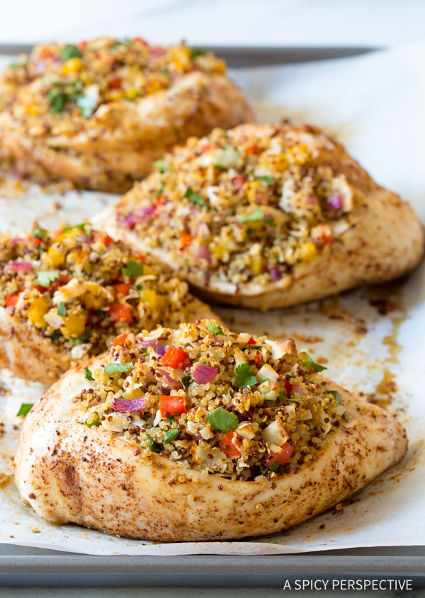 Perfect Confetti Quinoa Stuffed Chicken Recipe #healthy