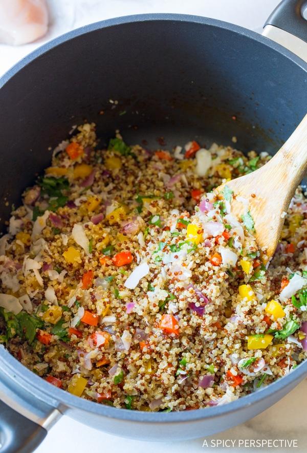 Easy Confetti Quinoa Stuffed Chicken Recipe #healthy