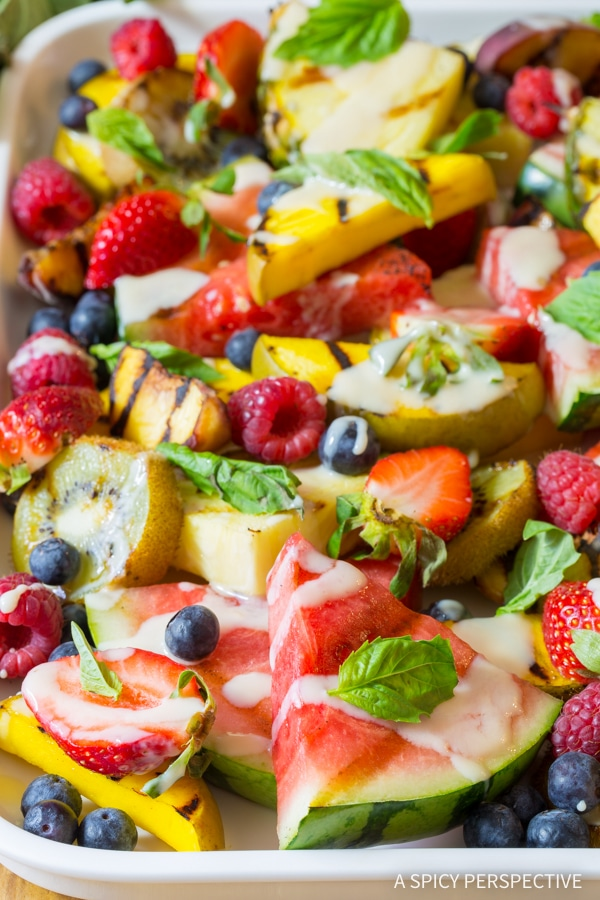 Grilled Fruit Salad with Creamy Lime Dressing Recipe #summer