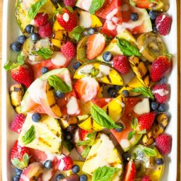 Best Grilled Fruit Salad with Creamy Lime Dressing Recipe