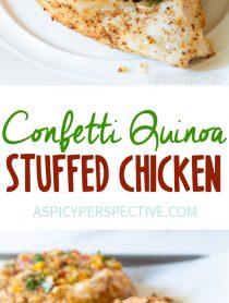 Zesty Confetti Quinoa Stuffed Chicken Recipe #healthy