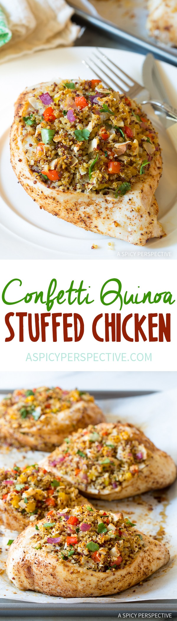 Zesty Confetti Quinoa Stuffed Chicken Recipe #healthy