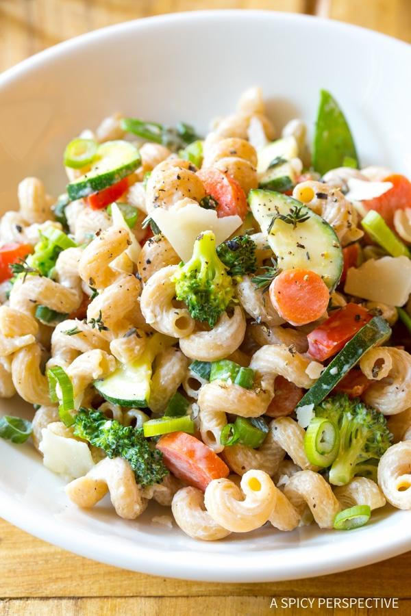 Skinny Pasta Primavera Recipe #spring #healthy #glutenfree #vegetarian