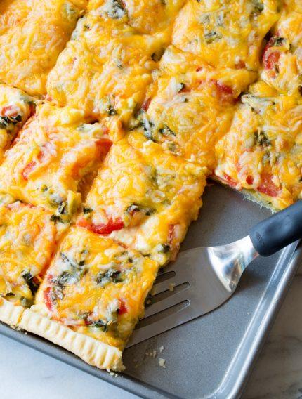 Cheesy Southern Tomato Slab Pie Recipe