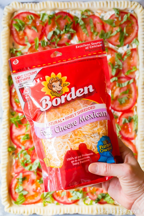 Borden Four Cheese Mexican Blend #ASpicyPerspective #Pie #SlabPie #TomatoPie #TomatoPieRecipe #SouthernTomatoPie #Tomatoes #Summer #Dinner