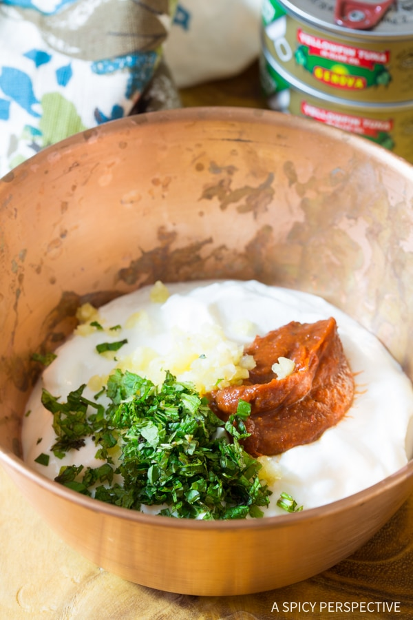 Making Tuna Chickpea Kofta with Harissa Yogurt Dip Recipe #healthy #lowcarb