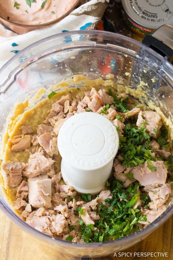 How to Make Tuna Chickpea Kofta with Harissa Yogurt Dip Recipe #healthy #lowcarb