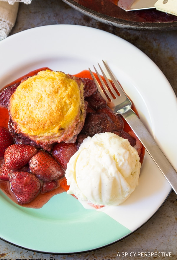 Best Strawberry Shortcake Skillet Cobbler Recipe