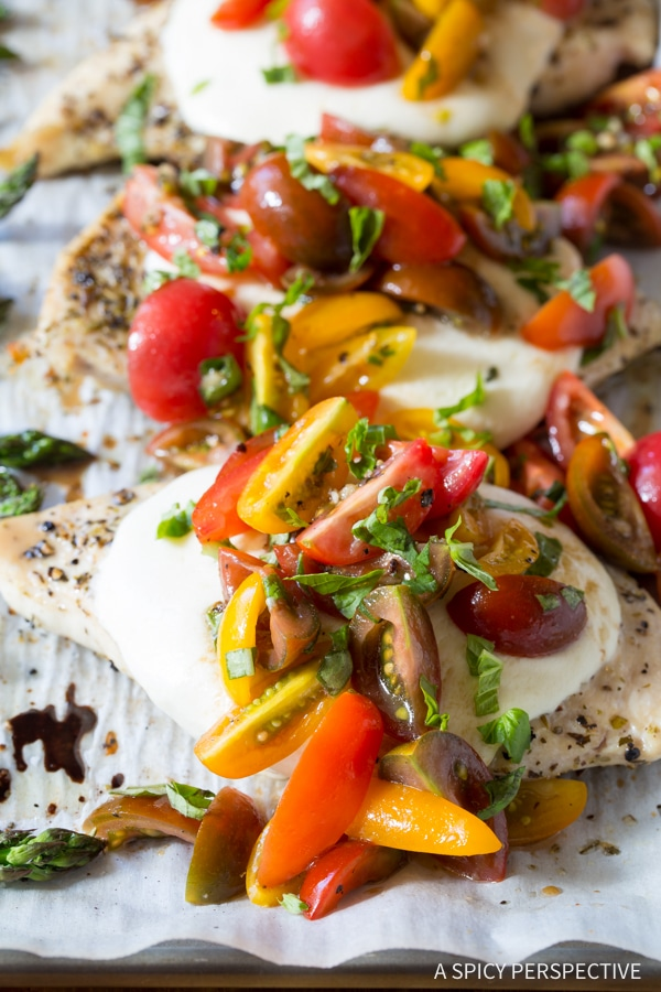 The Best Cheesy Bruschetta Chicken Sheet Pan Dinner Recipe