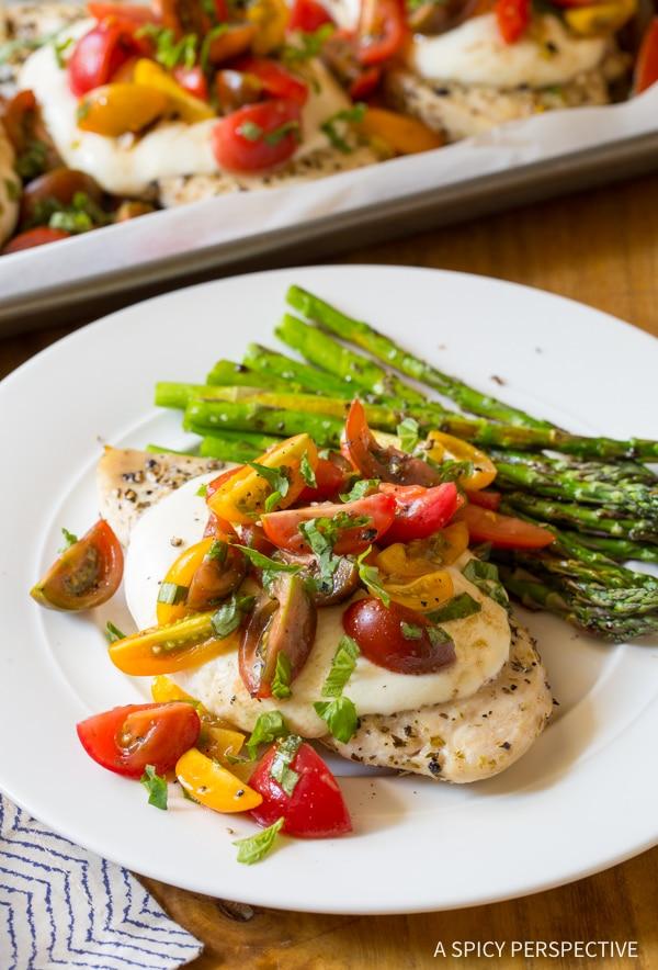 Perfect Cheesy Bruschetta Chicken Sheet Pan Dinner Recipe