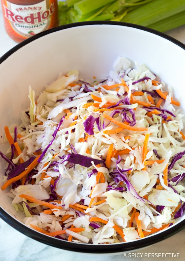 Making Buffalo Blue Cheese Coleslaw Recipe (Cole Slaw)