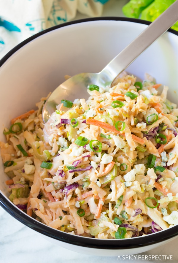 Perky Buffalo Blue Cheese Coleslaw Recipe (Cole Slaw)