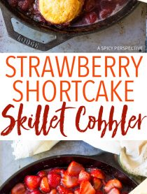 Roasted Strawberry Shortcake Skillet Cobbler Recipe