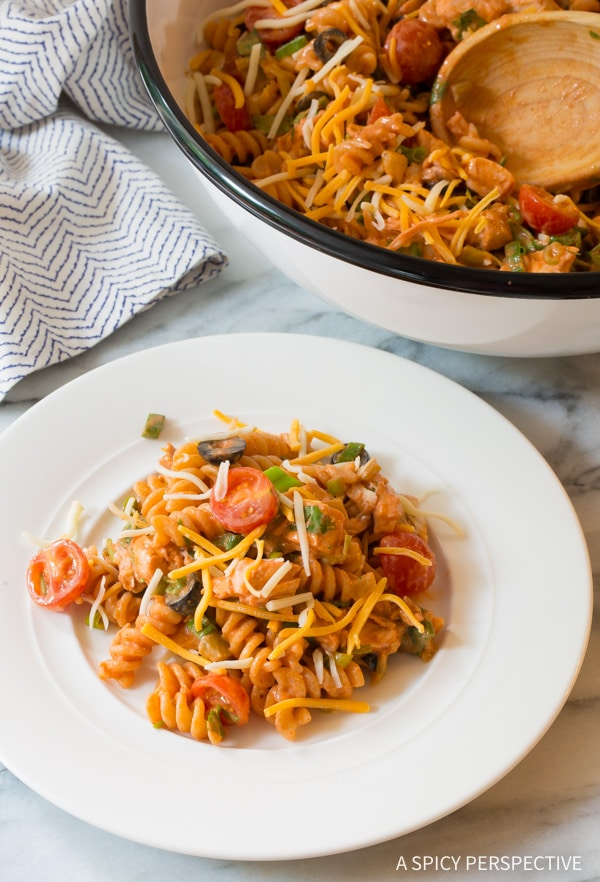 Perfect Chicken Taco Pasta Salad Recipe #best #mexican #summer