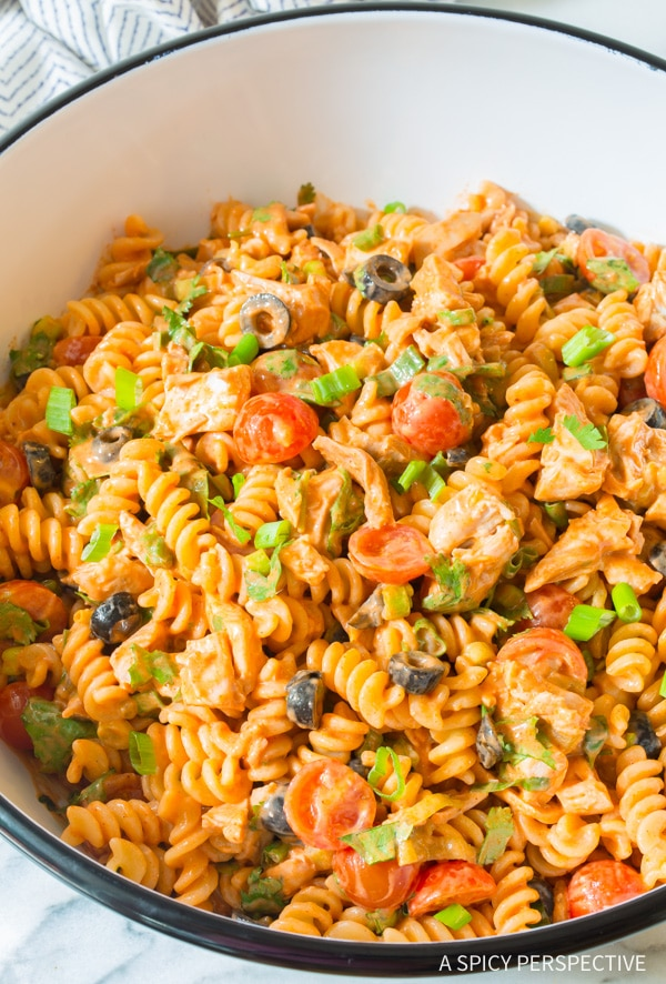 The Perfect Chicken Taco Pasta Salad Recipe #best #mexican #summer