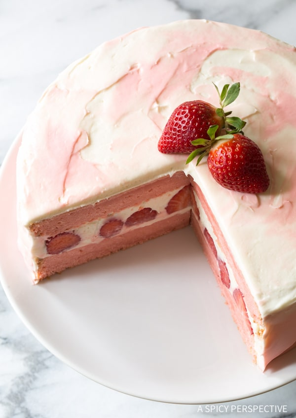 Fresh Strawberry Lemonade Cake {A Spicy Perspective}