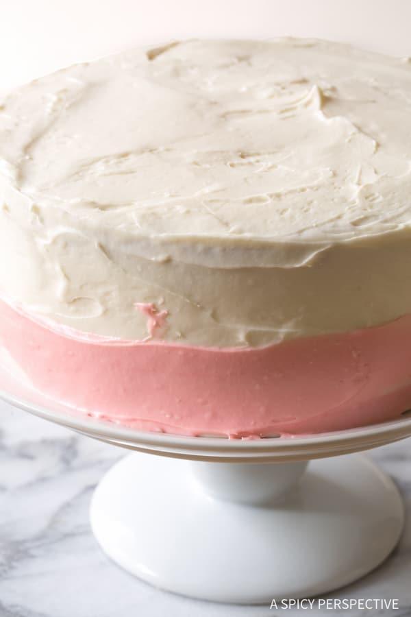 Making Fresh Strawberry Lemonade Cake Recipe