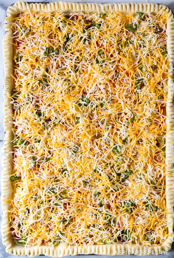 Tomato Pie Topped with Cheese #ASpicyPerspective #Pie #SlabPie #TomatoPie #TomatoPieRecipe #SouthernTomatoPie #Tomatoes #Summer #Dinner