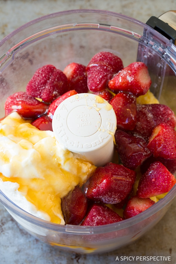Making Healthy 5-Minute Strawberry Pineapple Sherbet Recipe