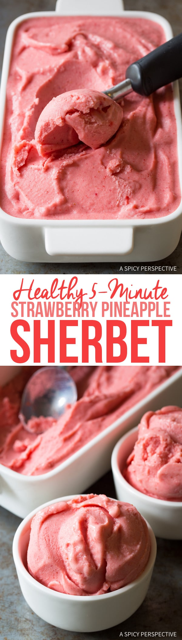 Healthy 5-Minute Strawberry Pineapple Sherbet Recipe