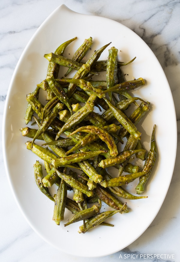 Crispy Zesty Roasted Okra Recipe #healthy #vegan #ketogenic