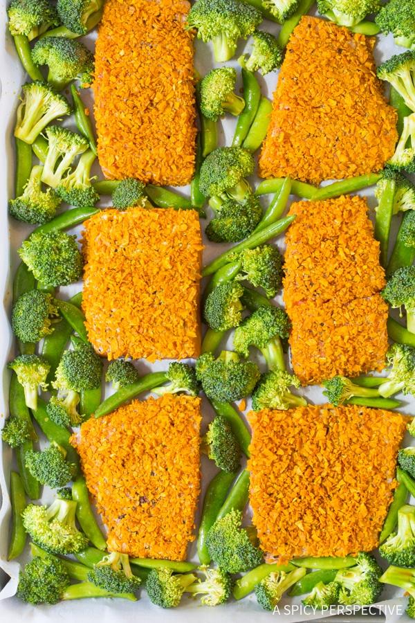 How To: Sweet Potato Crusted Salmon Sheet Pan Dinner