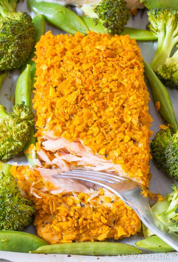 Crispy Sweet Potato Crusted Salmon Sheet Pan Dinner