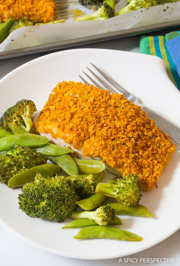 Best Sweet Potato Crusted Salmon Sheet Pan Dinner