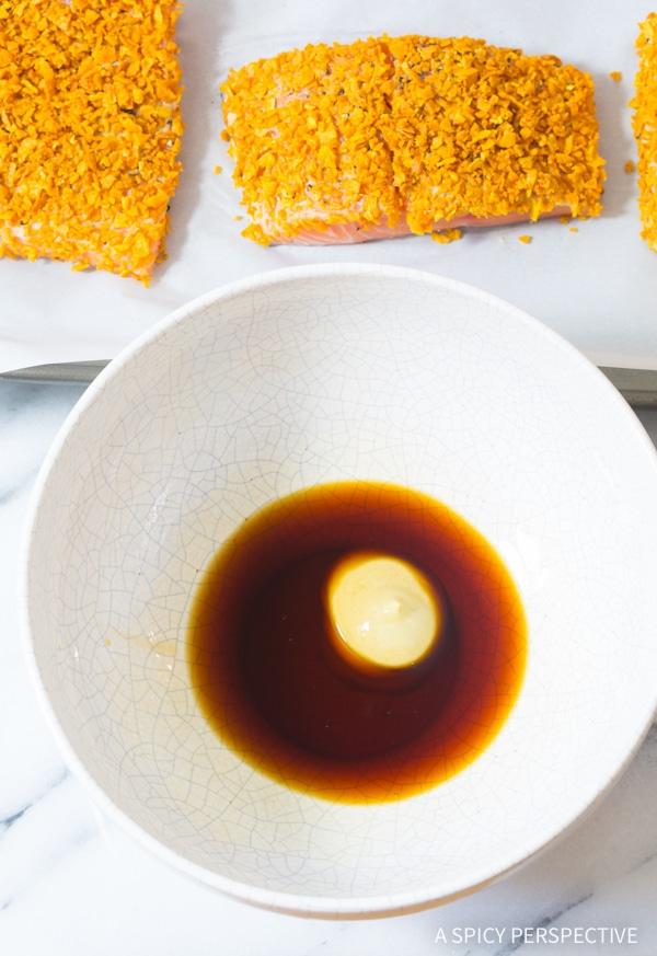 Simple Sweet Potato Crusted Salmon Sheet Pan Dinner