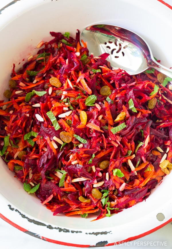 Simple Crunchy Beet Carrot Slaw (Healthy, Gluten Free & Vegetarian)