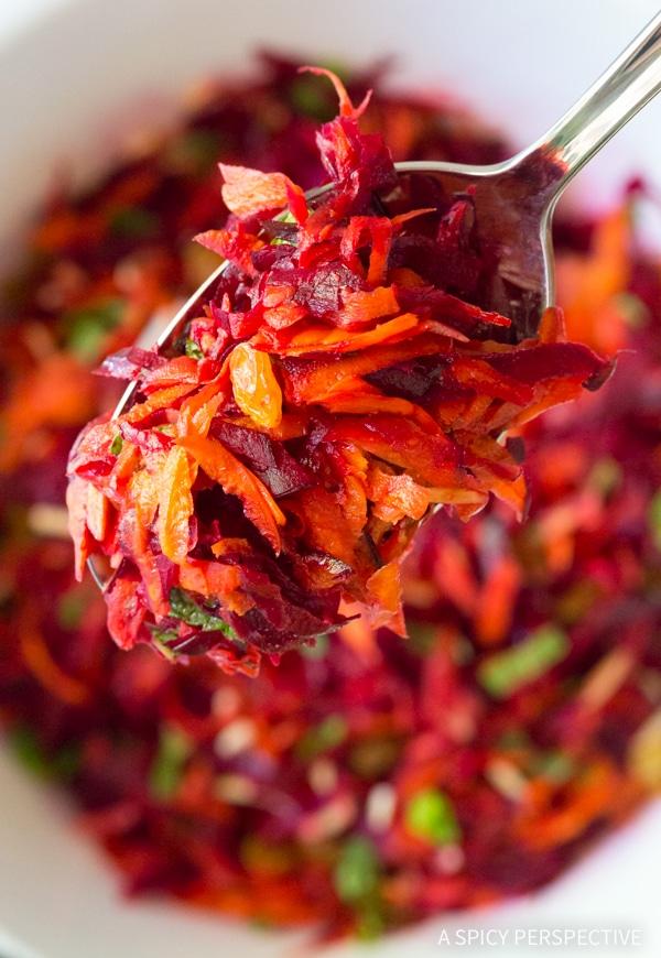 Best Crunchy Beet Carrot Slaw (Healthy, Gluten Free & Vegetarian)