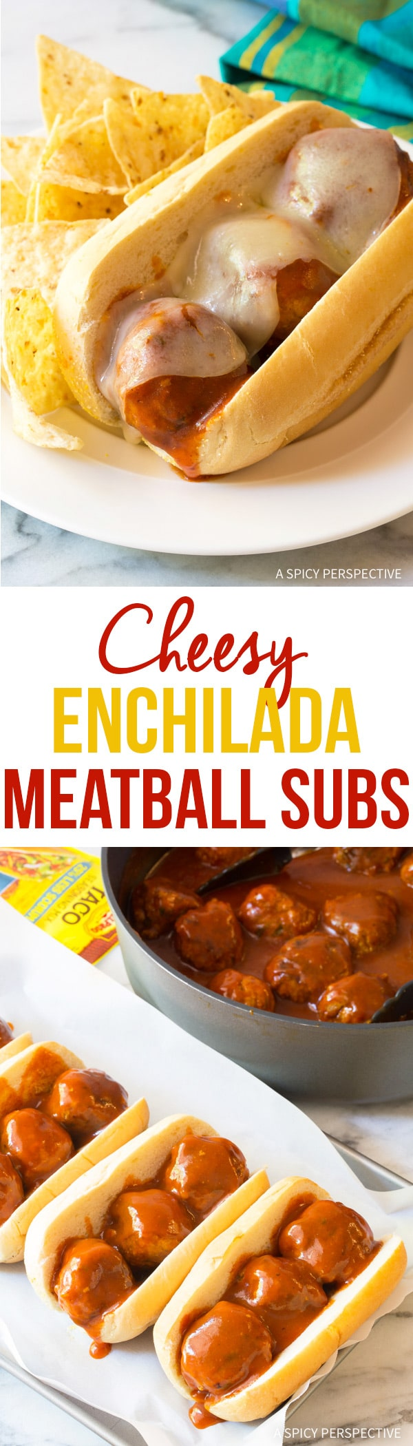 Awesome Cheesy Enchilada Meatball Sub Recipe #sandwich #mexican