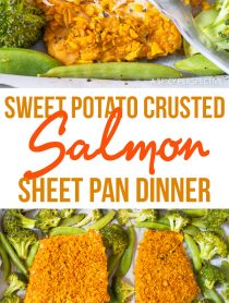 Crispy Sweet Potato Crusted Salmon Sheet Pan Dinner Recipe