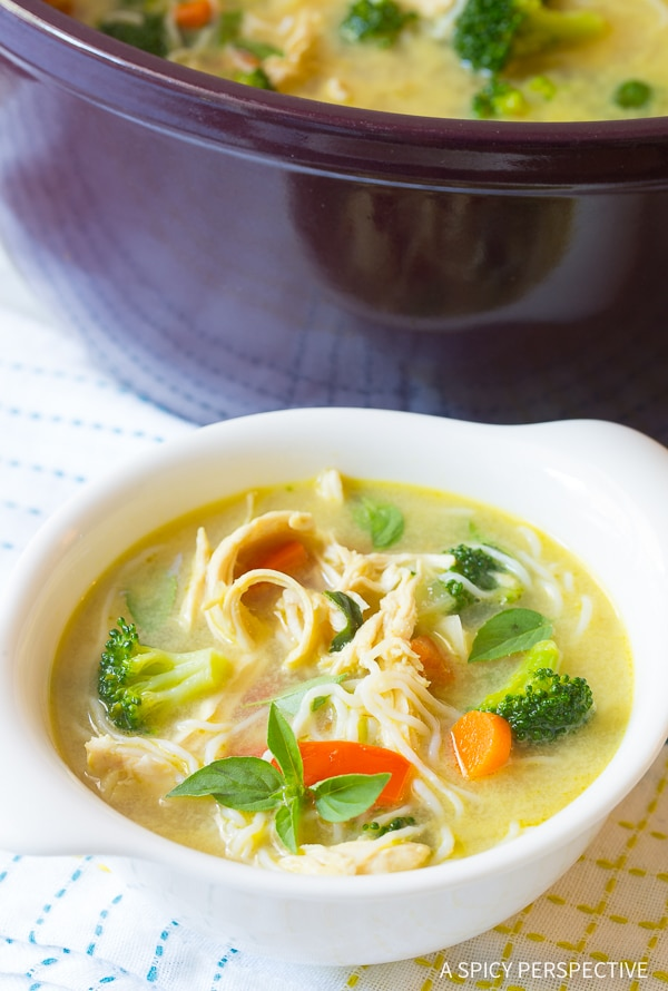 Best Low Carb Green Curry Chicken Noodle Soup Recipe (Paleo & Ketogenic)