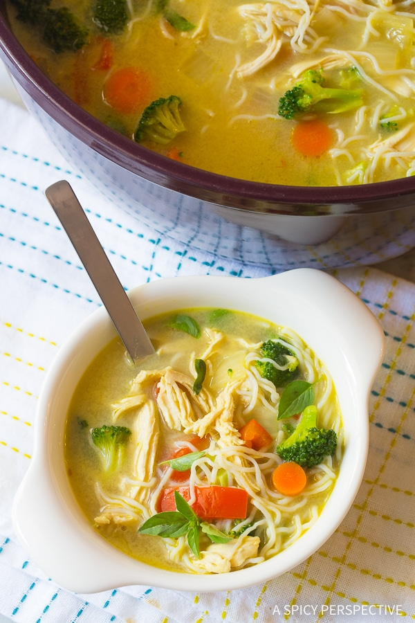 Perfect Low Carb Green Curry Chicken Noodle Soup Recipe (Paleo & Ketogenic)