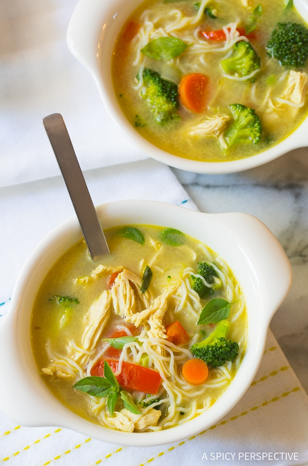 Bold Low Carb Green Curry Chicken Noodle Soup Recipe (Paleo & Ketogenic)