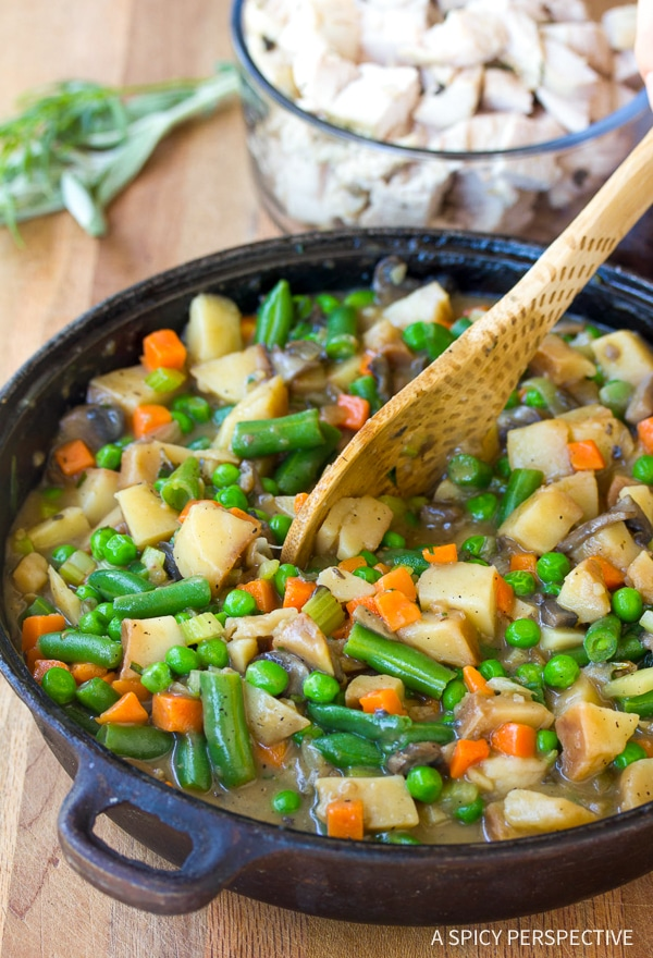 Simple Skillet Turkey Pot Pie Recipe - Use up your holiday leftovers!