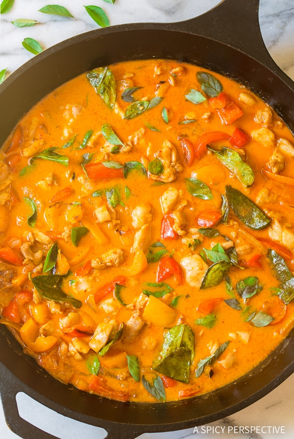 Easily The Best Thai Panang Curry with Chicken Recipe #ASpicyPerspective #thai #curry #paleo #keto #lowcarb #onepot
