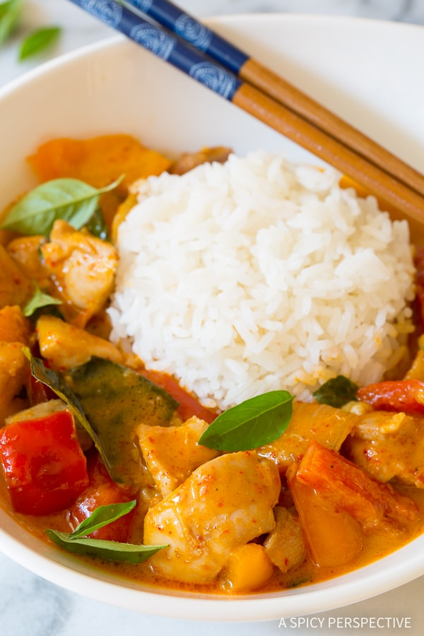 The Best Thai Panang Chicken Curry Ever! #ASpicyPerspective #thai #curry #paleo #keto #lowcarb #onepot