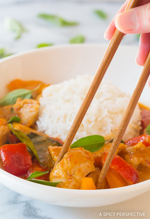 Thai Panang Chicken Curry Recipe #ASpicyPerspective #thai #curry #paleo #keto #lowcarb #onepot