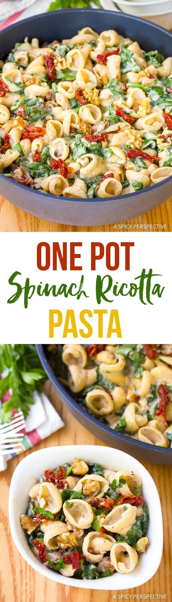 Creamy One-Pot Spinach Ricotta Pasta Recipe