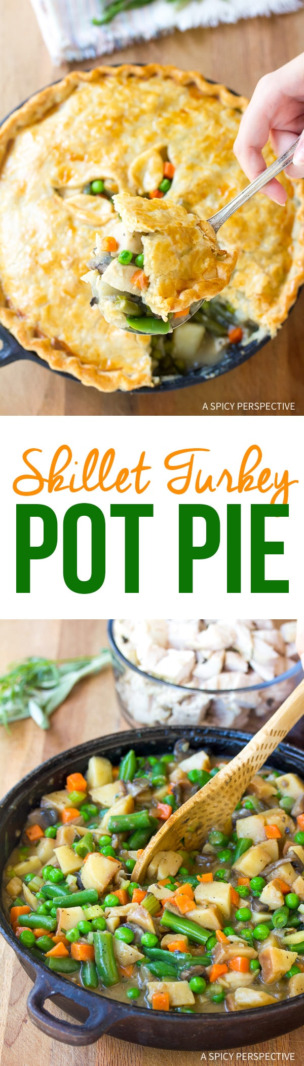 Skillet Turkey Pot Pie Recipe - Use up your holiday leftovers!