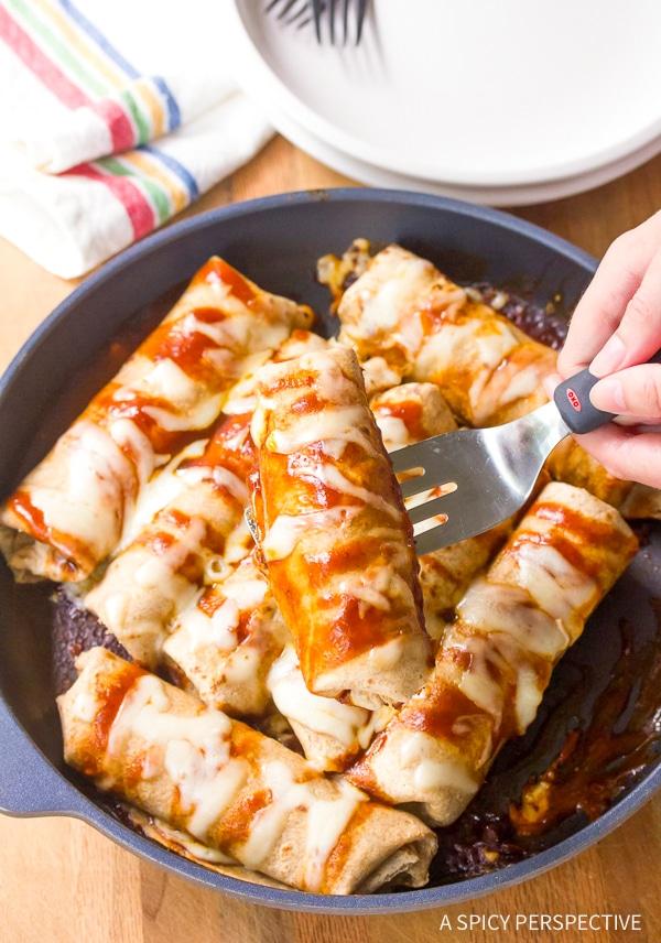 Perfect Vegetarian Black Bean Sweet Potato Skillet Enchiladas Recipe