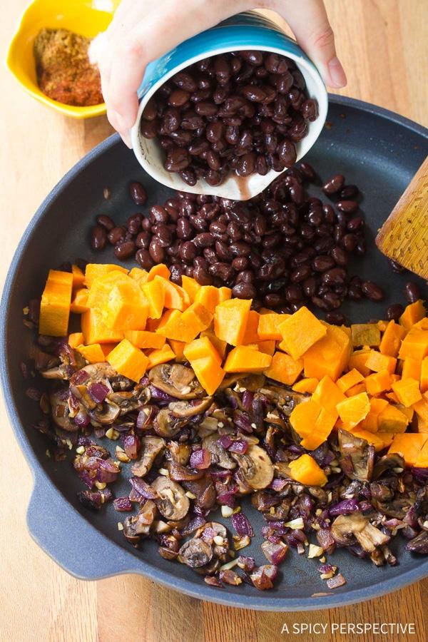 How to Make Vegetarian Black Bean Sweet Potato Skillet Enchiladas Recipe